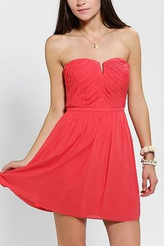 Ruched V-Neck Strapless Dress - bridesmaid?