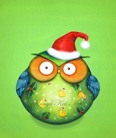 Christmas owl by Annya Kai