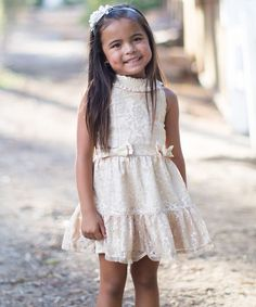 Trish Scully Child Gold Bow Lace Dress - Toddler & Girls | zulily