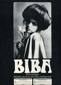 BIBA, iconic sixties London brand and boutique in Kensington created by Barbara Hulanicki, was a staple in the swinging London scene. Biba Fashion, Seventies Fashion, London Fashion, Vintage Fashion, Club Fashion, Cheap Fashion, Fashion Art, Fashion Women, Film Movie
