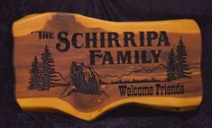 Cedar Sign Schirripa Family Photo | Cedar Signs by CedarSlabSigns.com Lake House Signs, Cabin Signs, Cottage Signs, Home Signs, Camper Signs, Family Signs, Personalized Signs, Family Photos, Carving