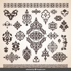 Flourish decorations collection Free Vector