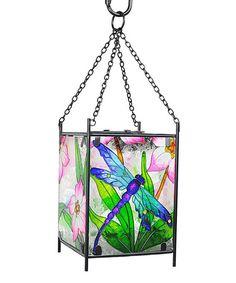 Continental Art Blue Dragonfly Solar Lantern | zulily