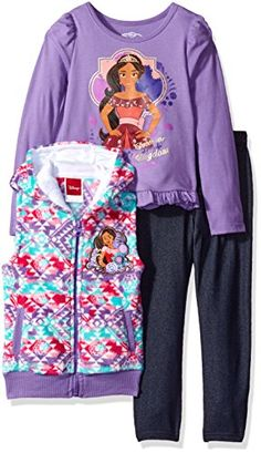 Disney Girls 3 Piece Elena of Avalor Vest Set Tee and Legging Set Purple 2T *** Check out the image by visiting the link-affiliate link. #Disneyfor Girls