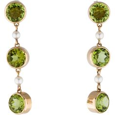 Pre-owned 14K Peridot and Pearl Drop Earrings ($695) ❤ liked on Polyvore featuring jewelry, earrings, pearl jewelry, pre owned jewelry, green pearl jewelry, green earrings and 14k jewelry