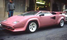 lite pink Lamborghini Countach