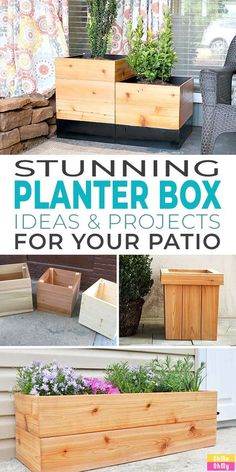Diy Wooden Planters, Modern Planters, Outdoor Planters, Wooden Diy, Cedar Planter Box, Garden Planter Boxes, Diy Garden, Garden Care, Garden Spaces