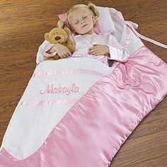 OMG! Sophia would love this lol!! Embroidered Satin Ballerina Slipper Sleeping Bag