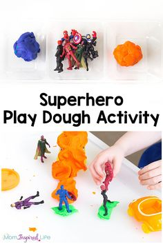 This superhero play dough activity is so much fun! It is a great way for kids to be creative, stretch their imagination, engage their senses and develop fine motor skills! Super Hero Activities, Eyfs Activities, Playdough Activities, Infant Activities, Activities For Kids, Kindergarten Activities, Superhero Preschool, Superhero Ideas, Superhero Room