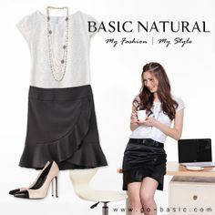 Flora lace satin layered blouse   White & Front flounce satin skirt