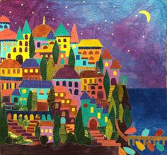 Cinque Terre at Night quilt by Pam Zeck, Venice, from Karen Eckmeier's Happy Village book Fabric Art, Textile Art