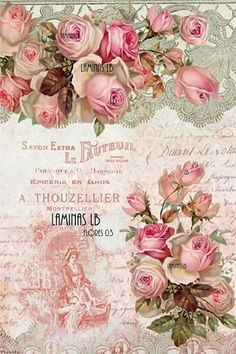 Raindrops and Roses Floral Vintage, Vintage Diy, Vintage Labels, Vintage Prints, Vintage Cards, Vintage Paper, Vintage Flowers, Vintage Images, Decoupage Vintage