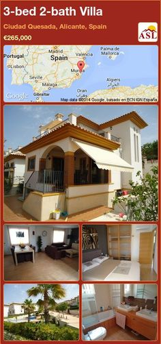 3-bed 2-bath Villa in Ciudad Quesada, Alicante, Spain ►€265,000 #PropertyForSaleInSpain