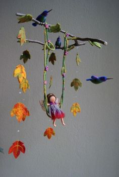 I want every single one of this artist's mobiles.for myself! Best mobiles ever! I want every single one of this artist's mobiles.for myself! Best mobiles ever! Mobiles, Felt Crafts, Diy Crafts, Baby Dekor, Crafts For Kids, Arts And Crafts, Autumn Fairy, Felt Fairy, Creation Deco