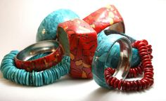 Faux Turquoise and coral jewellery | Maria Eva Ramos, polymer clay.