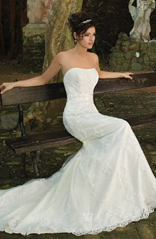 Demetrios - Sposabella  Style No.4257  Allover lace gown with strapless bodice.