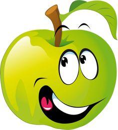 Cartoon Apple by vectorsme - Cartoon Apple Icons Fruit Bio, Fruit And Veg, Deco Fruit, Graffiti Kunst, Vegetable Cartoon, Fruit Cartoon, Cartoon Kids, Funny Fruit, Food Clips