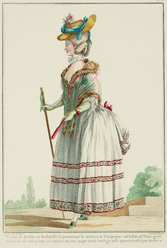 """A Most Beguiling Accomplishment: Galerie des Modes, 7e Cahier, 4e Figure (1778). Caption & long description translated by @Cassidy. """"Lady of Quality in Undress, walking in the morning in the Country.  This dress is white, trimmed with bands of painted cloth, and consists of a petticoat and a bodice with a tail pulled up in the back... Demi-polonaise, or polonaise à la liberté. It is a diminutive version of the bottom part of the gowns that Court Ladies, obligated by etiquette to be seen..."""""""