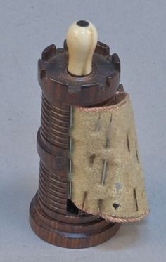 Victorian Rosewood & Ivory Turret Castle Pull out Pin Holder, c1860 - VCA #400. http://www.vcaauction.com/catalog.php