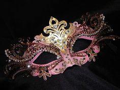 Pink and Gold Metallic Capri Masquerade Mask