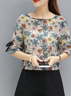 Women's Going out Cotton Blouse - Floral 2019 - € Blouse And Skirt, Blouse Dress, Floral Blouse, Cute Blouses, Cotton Blouses, Blouses For Women, Shirt Blouses, Blouse Styles, Blouse Designs