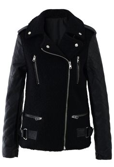 Zip Faux Leather Sleeves Jacket