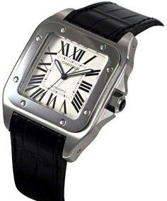 4e40073196750 Cartier Santos 100 W20073X8 41.3mm x 51.1mm Stainless Steel Black Crocodile  Watch