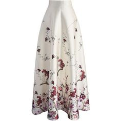 Chicwish Serenity Floral Printed Maxi Skirt (678.405 IDR) ❤ liked on Polyvore featuring skirts, white, white maxi skirt, ruched skirt, floral print long skirt, long skirts and floral maxi skirt