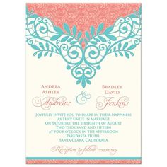 Coral, turquoise, and ivory vintage lace wedding invitation. We will personalize…