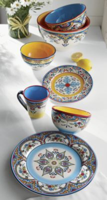 Zanzibar Dinner Plate, Salad Plates, Bowls, Mugs and Serving Bowls from Through the Country Door® Plates And Bowls, Salad Plates, Fresco, Dinner Wear, Boho Kitchen, Mediterranean Dishes, Glazed Ceramic, Dinner Plates, A Table