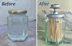 DIY apothecary jar made from a used jar, a cabinet knob, and metallic spray paint.  Love this idea!