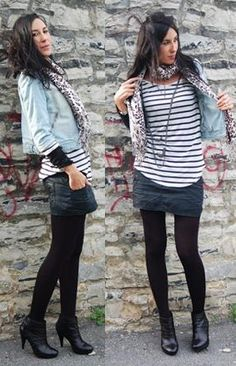 jeans jacket, mini skirt, ankle boot and sock.