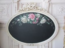 OMG ORIGINAL Christie REPASY PAINTING Pink Wht ROSES on CHALK BOARD Gesso Frame