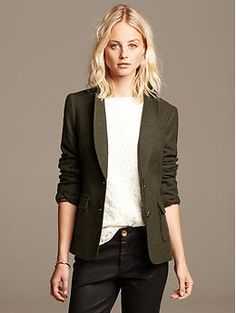 Fill in the gaps that I left in your closet with this blazer. An amazing color for you. Wear with the skinny winter white chords you just ordered. Will look great with a pair of skinny jeans, simple blouse and cognac leather booties. Extremely versatile!