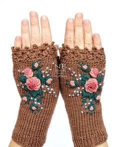 Knitted Fingerless Gloves Cappuccino Brown Roses Rose