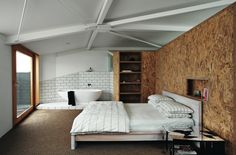 OSB panels in interior design - Pros and Cons Small Room Bedroom, Cozy Bedroom, Bedroom Modern, Bedroom Wall, Bedroom With Bathtub, Bed Room, Master Bedroom, The Block Room Reveals, Timber Panelling