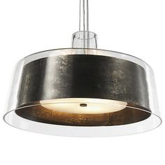 Bari Pendant by Philips Forecast Lighting - Airy thin, translucent outer glass shade contrasts a with hand forged steel inner shade.