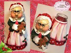 vidro decorado + mamãe noel + natal