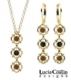 Romantic Pendant and Earrings Set Designed by Lucia Costin with 3 Lovely Flowers, Dots, Black and Brown Swarovski Crystals; 14K Yellow Gold over .925 Sterling Silver; Handmade in USA Lucia Costin. $79.00. Amazingly designed with black and brown Swarovski crystals. Style takes wings in this lovely jewelry set that have a graceful flower shape. Jewelry set designed by Lucia Costin. Handmade in USA unique jewelry set. Flowers and fancy ornaments beautifully combined