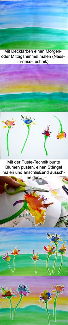 Discover thousands of images about Kunst in der Grundschule:,Blumenwiese Projects For Kids, Diy For Kids, Art Projects, Art Education Lessons, Art Lessons, Spring Art, Spring Crafts, Painting For Kids, Painting & Drawing