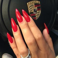 30 Eye-catching Red Nail Art Designs to Show Your Style; Long Red Nails, Red Ombre Nails, Red Stiletto Nails, Coffin Nails, Pointed Nails, Black Nails, Red Nail Art, Red Acrylic Nails, Red Nail Polish