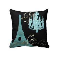 Teal Chandelier vintage paris decor pillow