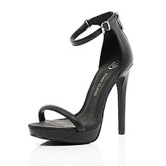 Black platform barely there sandals - heels - shoes / boots - women