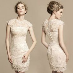 2017 New Fashion Design Mermaid Lace High Short Cocktail Dresses Cap Sleeve Appliques Formal Dress Party Ball Gowns