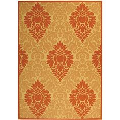 Indoor/ Outdoor St. Barts Natural/ Terracotta Rug (6'7 x 9'6)  Background is really ivory.