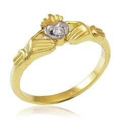 GOLD JEWELRY USA - Dainty Gold Claddagh Promise Ring with Diamond, $150.00 (http://www.goldjewelryusa.com/claddagh-rings/dainty-gold-claddagh-ring-diamond.html)