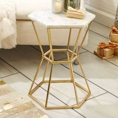Twos Company Hexagonal Marble Top End Table ZID104