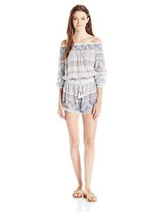 This romper #features placed print, a smocked neckline and waistband, lace trim at neckline, draw cord at waistband with tassels, encased elastic at sleeve openi...