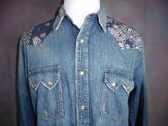 NWT LUCKY BRAND XL DENIM BLUE JEAN PEARL SNAP LONG SLEEVE WESTERN STYLE SHIRT #LuckyBrand #Western