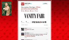 Condé Nast owned magazine Vanity Fair launched their new logo in an unusual if not very current way. Tweeted on the 5th September, the new logo to celebrate their 100th anniversary features on the cover of a commemorative issue. The cover which features Kate Upton photographed by Annie Leibovitz, mimics their first ever cover of Dress and Vanity Fair in 1913. But with just 37 re-tweets talking about the new logo (but lots of blogs), is Twitter the right medium for such a launch?
